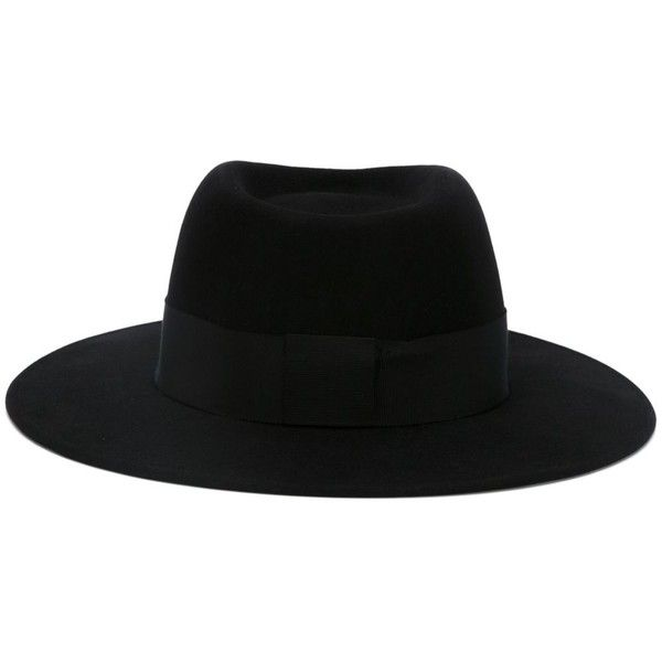 Maison Michel Thadee Trilby Hat ($522) ❤ liked on Polyvore featuring accessories, hats, black, maison michel, maison michel hats, trilby hat, band hats and wide brim hat