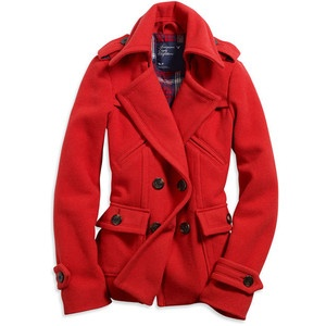 Red pea coat. Any pea coat is good, I just love red.