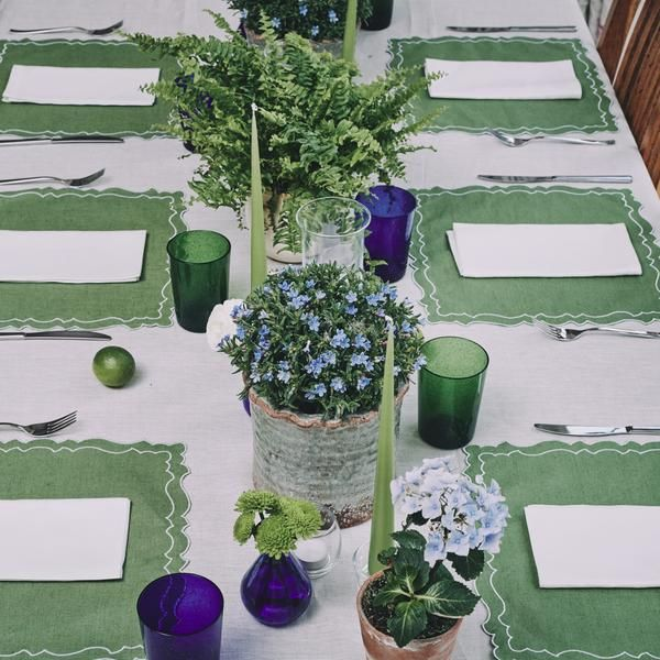 Emilia Coated Linen Placemat In Grass Green Rebecca Udall Candle Dinner Quality Candles Candles