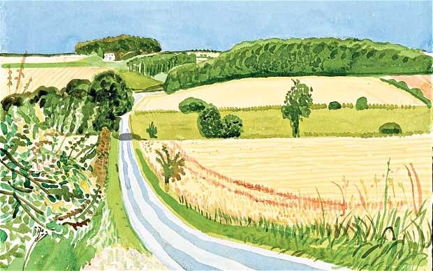 David Hockney Roads and Cornfields: ----- composition study