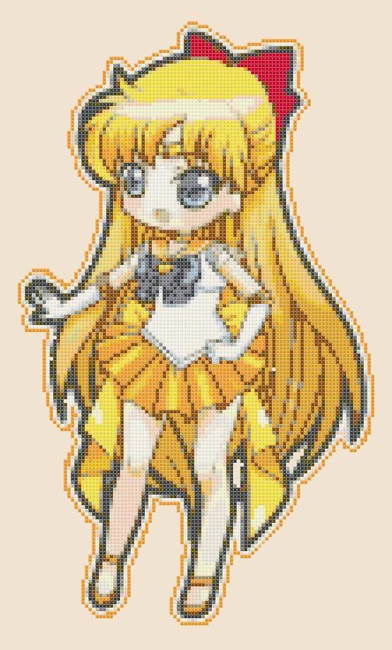 Chibi Sailor Venus  pdf cross stitch di PDFanimeCrossStitch, $3.50