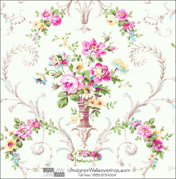 Dickenson Flower Vase Wallpaper [HUN-37909] Huntington & Rockefeller | DesignerWallcoverings.com ™ - Your One Stop Showroom for Custom, Natural, & Specialty Wallcoverings | Largest Selection of Wall Papers | World Wide Showroom | Wallpaper Printers