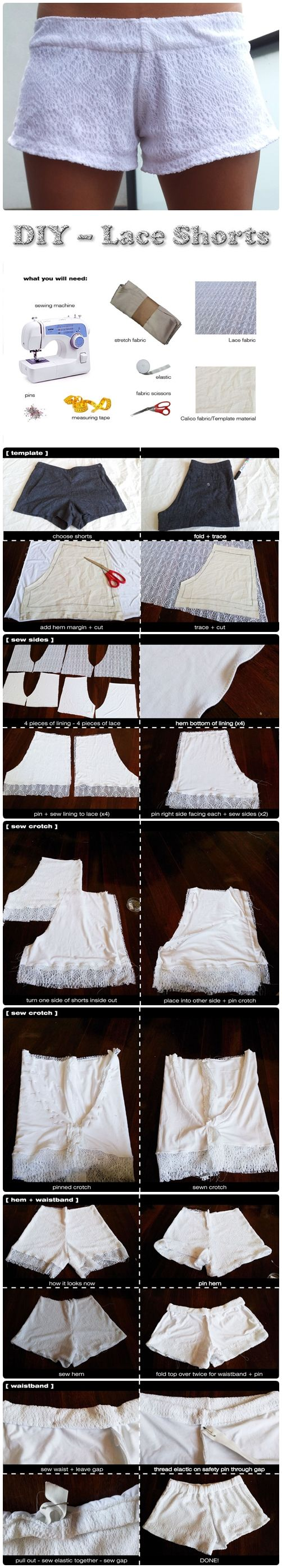 DIY – Lace Shorts (step by step guide pictures of how to put these together. I'm making them. Just love the look of them! FMTK)