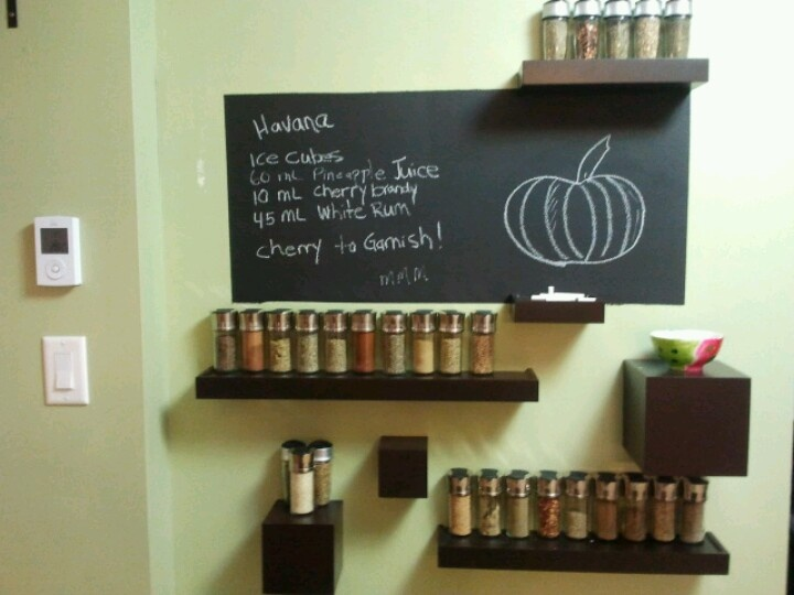 spice rack/ chalk board wall in my kitchens