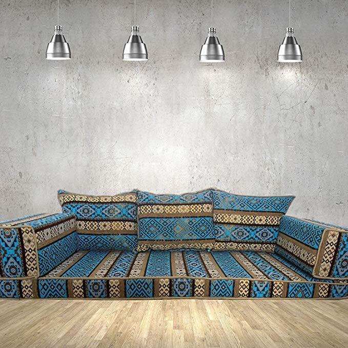 Amazon De Boden Couch Arabische Stil Bodenmobel Orientalische Sitzecke Handgefertigte Boden Sofa Set Ar Orientalische Sitzecke Blaue Farbe Wohnzimmer Ideen