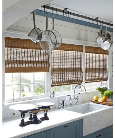 Japanese-Inspired Matchstick Blinds, Plank lined walls & Crown ceiling trim painted the same color as the cabinets