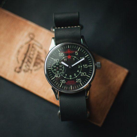 Military watch Molnija, black soviet watches, mens military watches, army watches, unisex watches, mechanical watches, black watch
