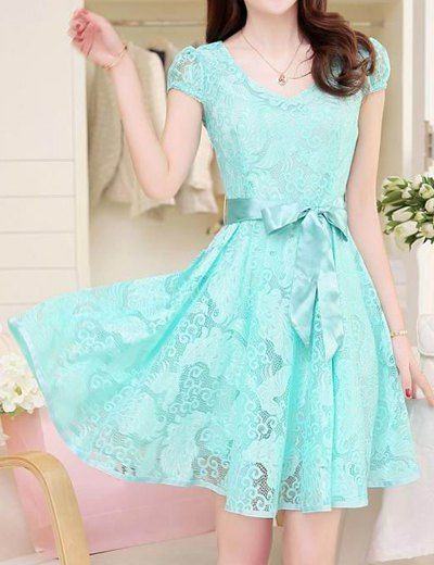 VERY cute. :) $15.94 Ladylike V-Neck Short Sleeve Lace Solid Color Dress For Women