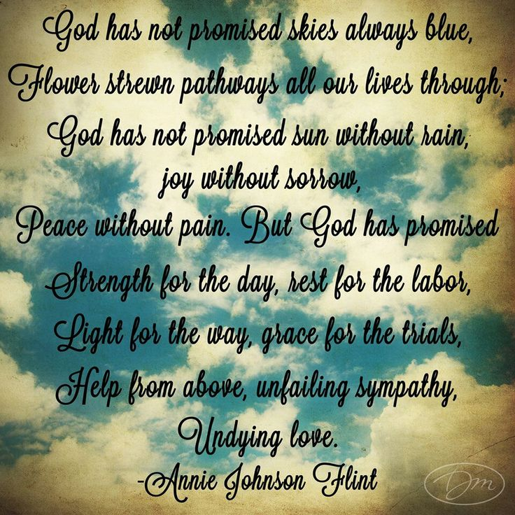 Image result for god has not promised skies always blue