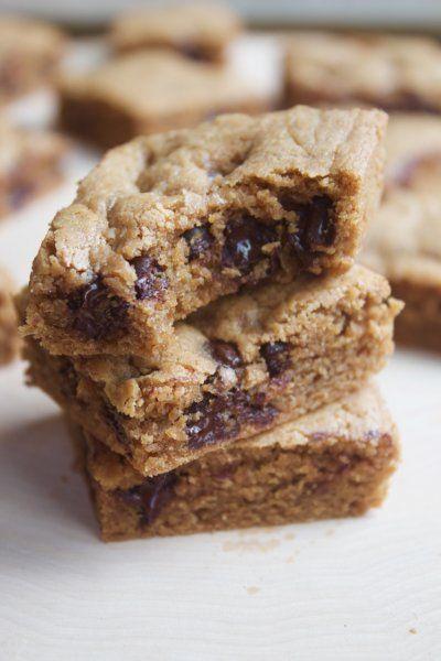 Chewy Peanut Butter Chocolate Chip Blondies {Grain- & Gluten-free} by Lauren Zembron