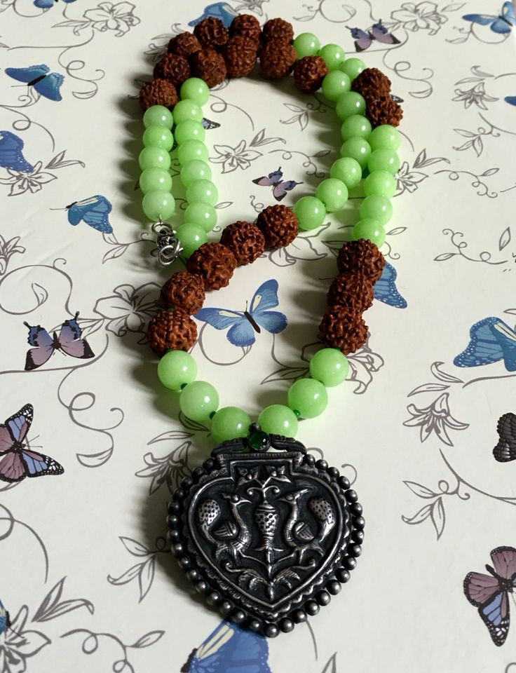 Add some fun to your collection with this funky Apple Green Quartzite with silver peacock necklace & get yourself noticed! https://www.etsy.com/uk/listing/468617349/funky-green-quartzite-with-big-silver