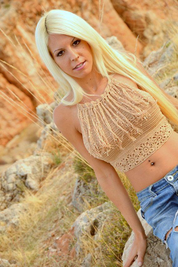 Cowboy halter top, beige fashion cotton tank, sexy crochet halter top, texas crochet top, beach sexy tank, hippie crochet top, cowgirl.