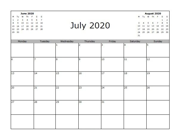 Awesome July 2020 Calendar Pdf Word Excel Template July