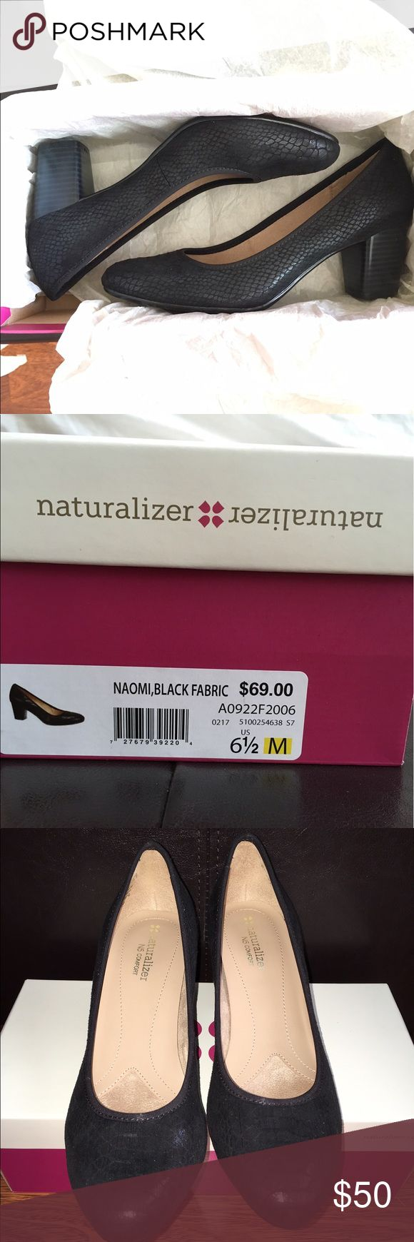 Naturalizer Naomi Black snakeskin heels Naturalizer Naomi Black Snakeskin 2 1/2 inch heels.  Size 6 1/2M.  Brand new with box.  Never worn.  Slightly too big for me. Naturalizer Shoes Heels