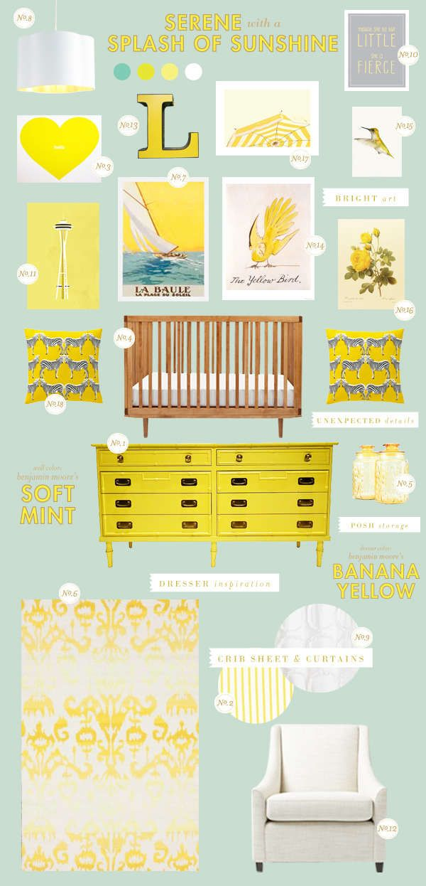 serene with a splash of sunshine themed nursery. Too much yellow but great pieces.