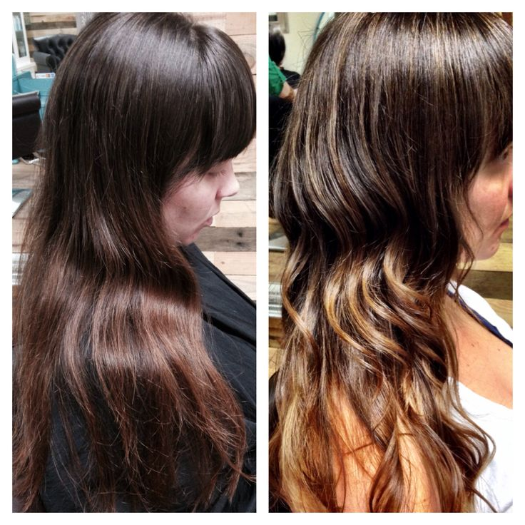 Before After Ombre Balayage Hair Brown Caramel Blonde