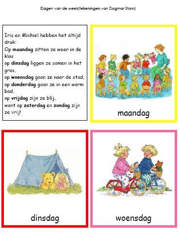 Kleuterjuf in een kleuterklas: Woordkaarten DAGEN VAN DE WEEK (Dagmar Stam)