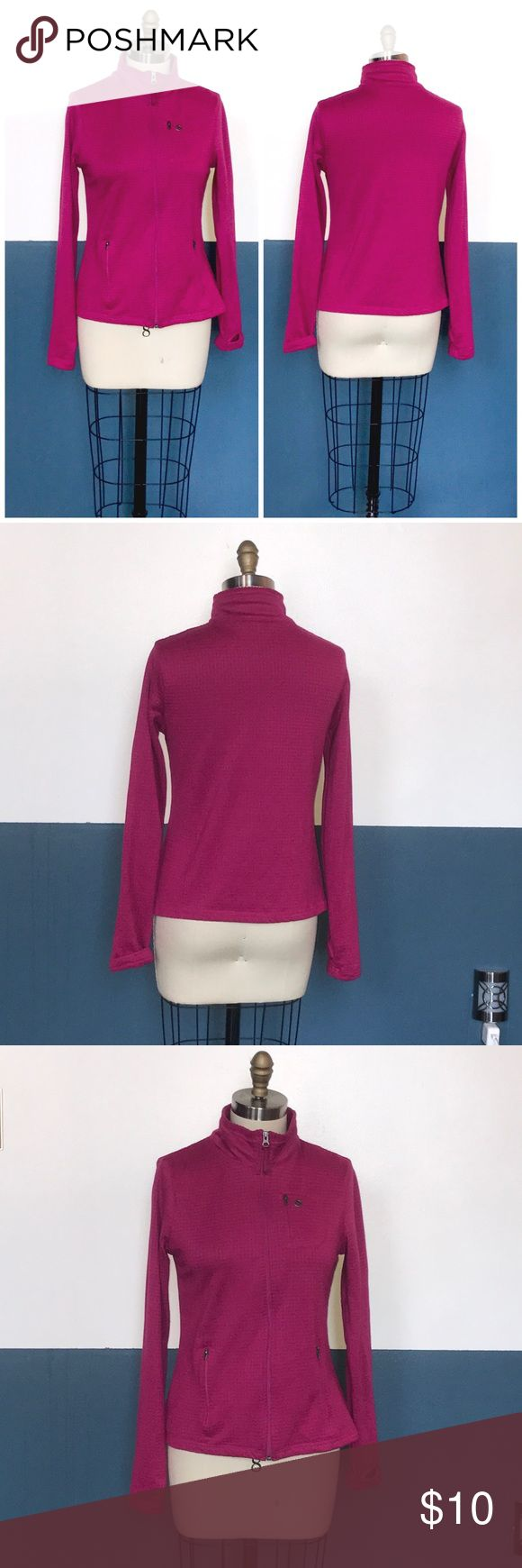 """fleece zip out athletic running track jacket Features thumb holes and a place to keep your iPad nano / mini!   Size M 8 10  Shown on my size 8 mannequin and it is a good fit.   Actual measurements:  Bust: 36-40""""  Bottom hem: 40-46""""  Length: 24""""  Sleeve length: 27.5"""" (including thumb holes!"""" Danskin Now Jackets & Coats"""
