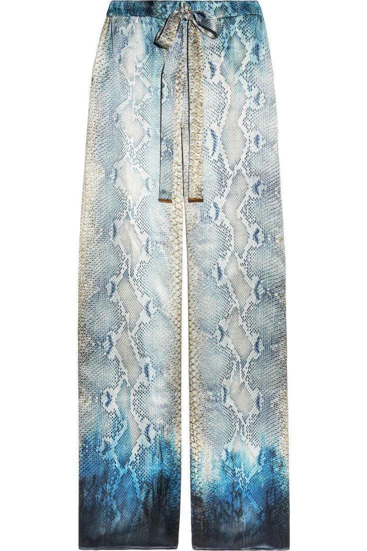 NOW I want printed pants.     Roberto Cavalli Snake-print silk-satin palazzo pants NET-A-PORTER.COM