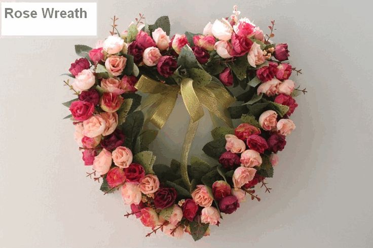 Wine Red and Pink Rose Flower Wreath, Heart Shape Artificial Silk Flower Wreath