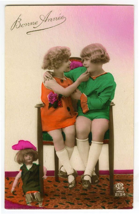 1920s ребенок Дети светлые девочки с куклой тонированные французский деко фото открытка | eBay