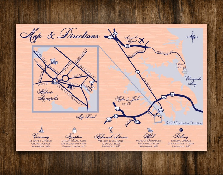 Custom Designed Wedding Map & Directions | St. Anne's Church in Historic Annapolis, MD Gibson Island Club | Printable .pdf file or printed services via Etsy by Distinctive Directions