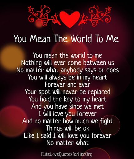You Mean The World To Me Poems For Him  Love Poems For -4309