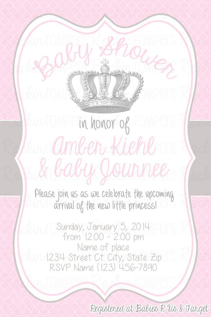 Princess Baby Shower Invitation www.facebook.com/rockinrompers www.etsy.com/shop/rockinrompers
