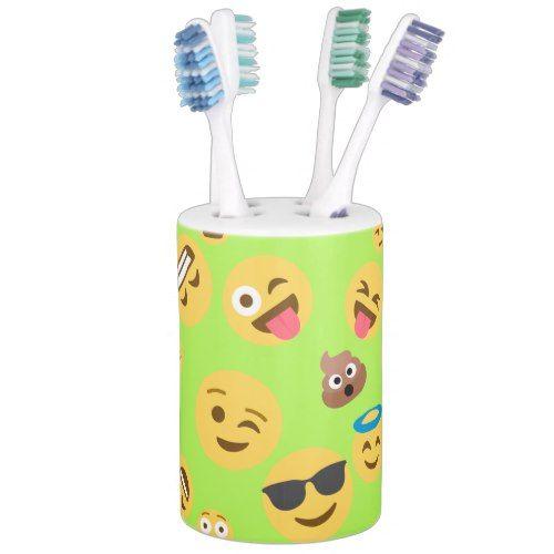 Funny Emoji Pattern (green) Soap Dispenser And Toothbrush Holder