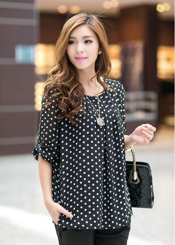 2014 summer women shirts top dot chiffon long sleeve loose fat lace dot shirt blouse for women plus size /XXL/XXXL/XXXXL T6005   Confira um novo artigo em http://importarroupas.blog.br/products/2014-summer-women-shirts-top-dot-chiffon-long-sleeve-loose-fat-lace-dot-shirt-blouse-for-women-plus-size-xxlxxxlxxxxl-t6005/