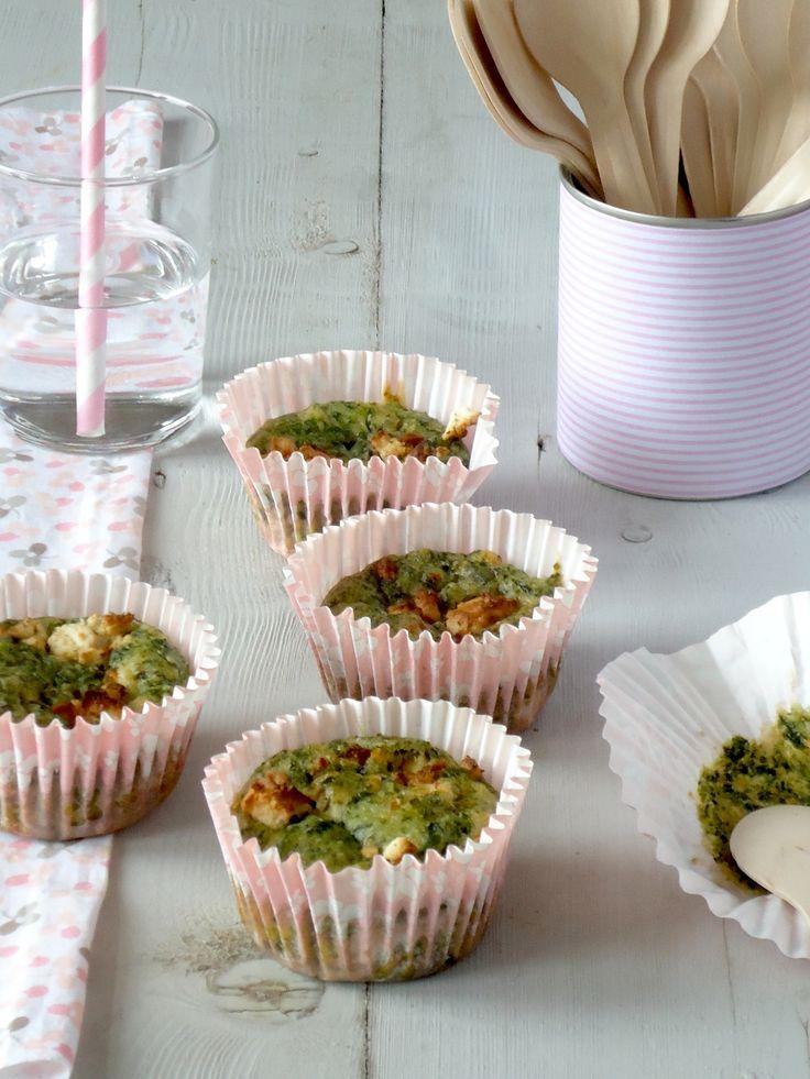 Hartige muffins met spinazie en geitenkaas