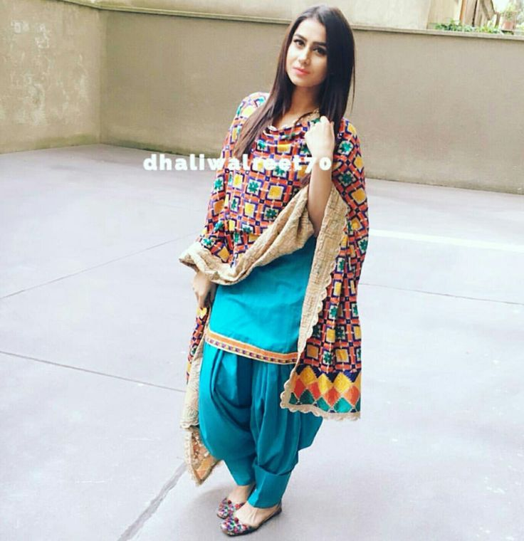 Sky blue suit with unique phulkari design