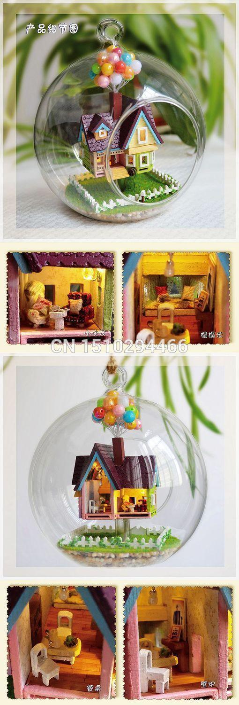 Сделай сам стеклянный шар кукольный дом миниатюры для украшения из дерева мини ручной миниатюрный кукольный домик с фары игрушка подарок на день рождения купить на AliExpress