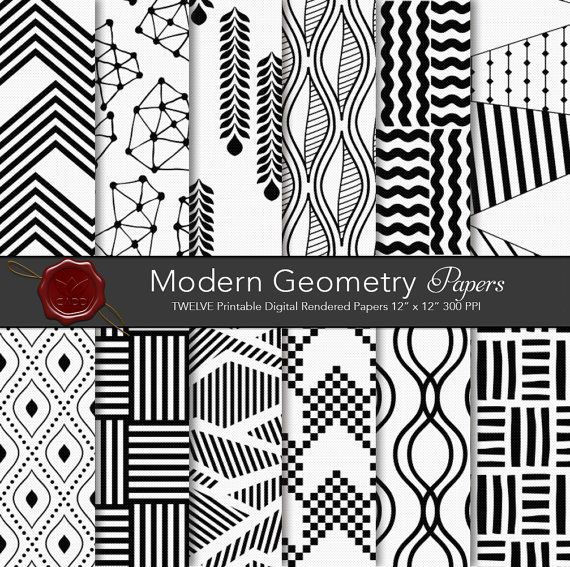 Modern Abstract Geometry digital paper by CornucopiaArtDesign