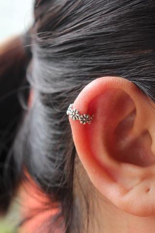 Simple Flower Cartilage Ring at MyBodiArt