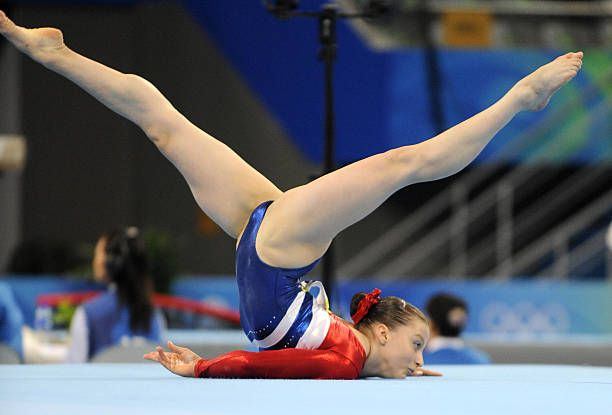 Russia's Anna Pavlova competes on the floor during the women's qualification of the artistic gymnastics event of the Beijing 2008 Olympic Games in Beijing on August 10, 2008.