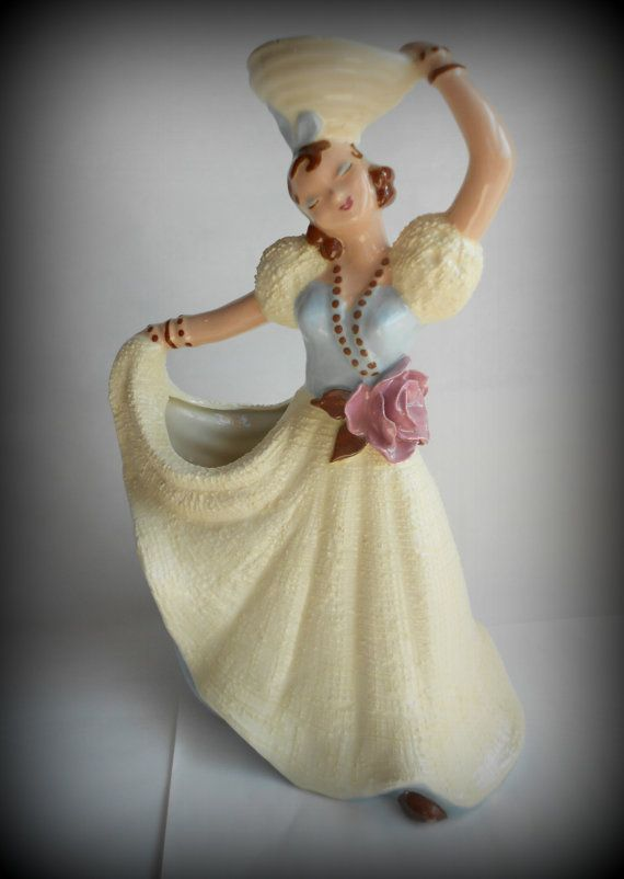 Vintage Hedi Schoop Girl With Basket Collectible Vase Planter Vintage Baskets And Girls