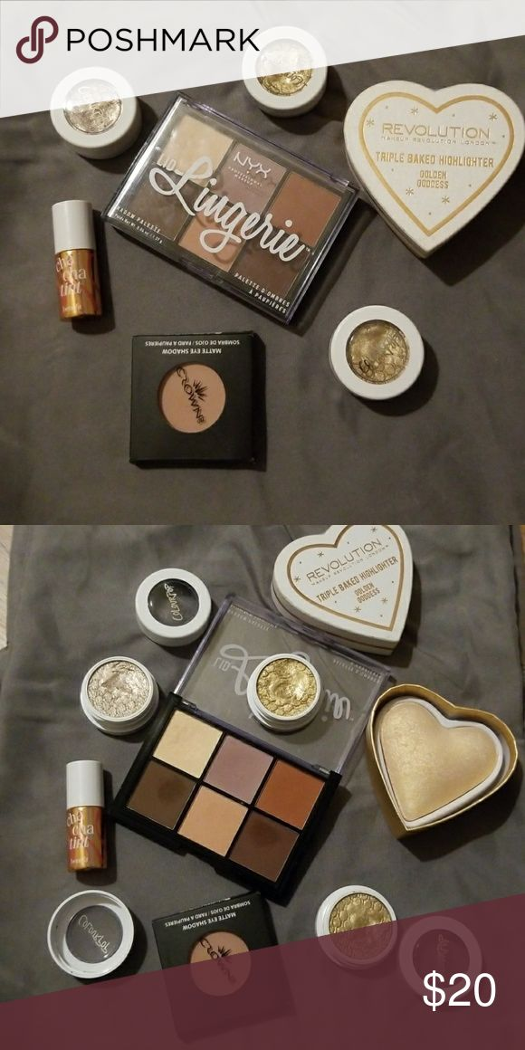 Makeup lot! Benefit. Colour pop. Crown. MR. NYX. Lightly used Colour pop super shock shadow ▪Get Lucky ▪I♡this ▪Cheap Date Makeup Revolution-swatched Blushing hearts triple baked hilighter ▪Golden Goddess Crown Matte Shadow-new ▪blush (c4) NYX lid lingerie -lightly used ▪llsp01 Benefit- new ▪miini chacha tint Benefit Makeup Eyeshadow
