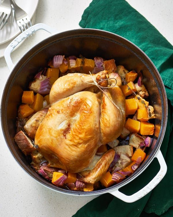 The Kitchn – Whole roasted chicken with squash and bread cubes in a dutch oven   – Deliciousness