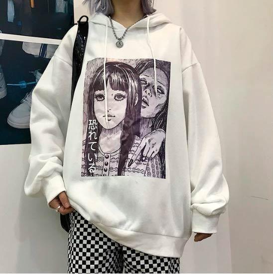 Black white hoodie plus velvet harajuku black white hoodie plus velvet