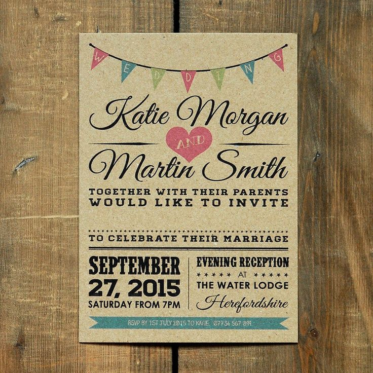 Vintage Bunting Kraft Wedding Invitation - Day Evening RSVP Rustic Barn Retro in Home, Furniture & DIY, Wedding Supplies, Cards & Invitations | eBay
