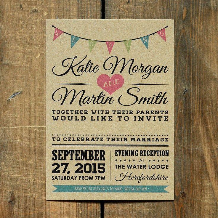 Vintage Bunting Kraft Wedding Invitation - Day Evening RSVP Rustic Barn Retro