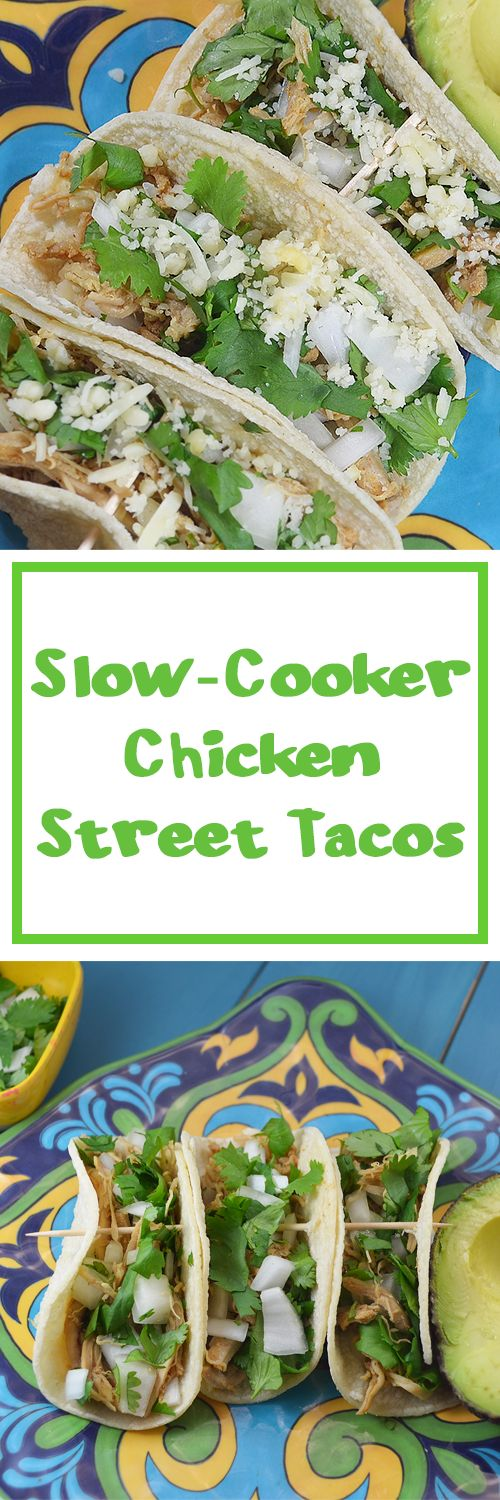 These unassuming slow-cooker chicken street tacos are easy to prepare and packed full of flavor! Keep it basic or add your favorite topping to personalize.