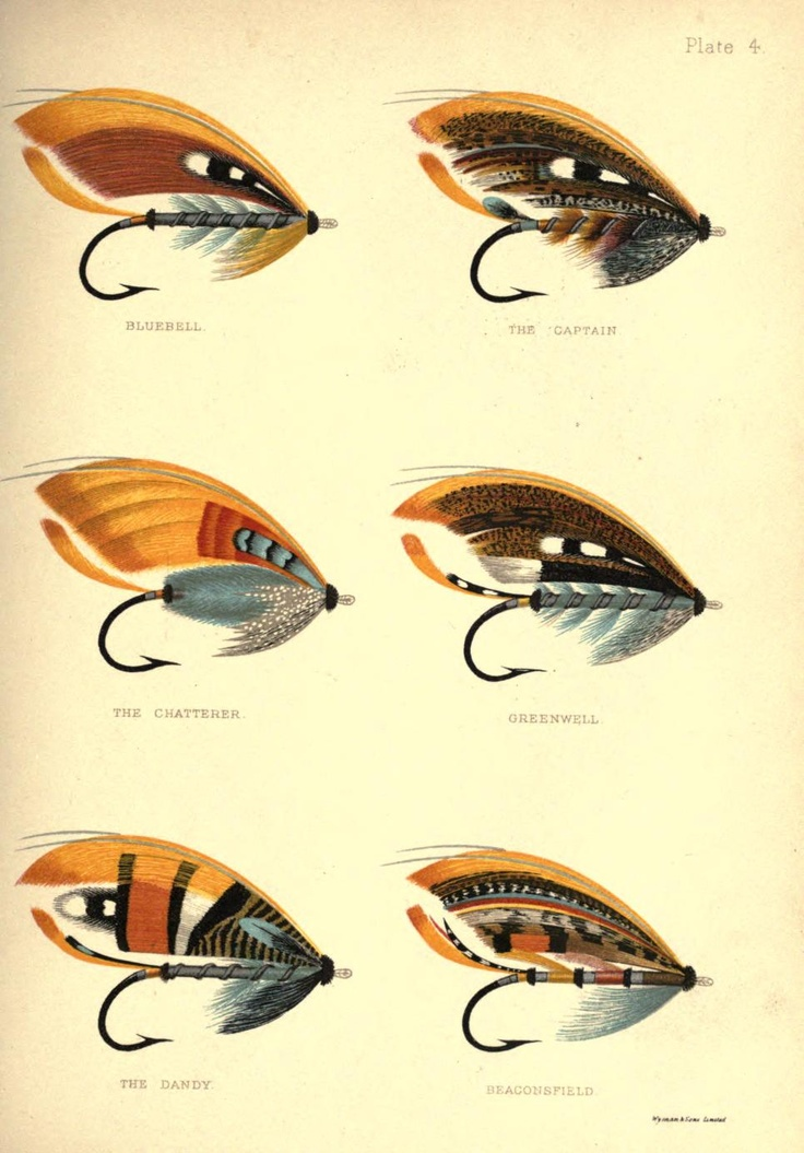 Plate 4: Bluebell, The Captain, The Chatterer, Greenwell, The Dandy & Beaconsfield, George Kelson - The Salmon Fly 1985