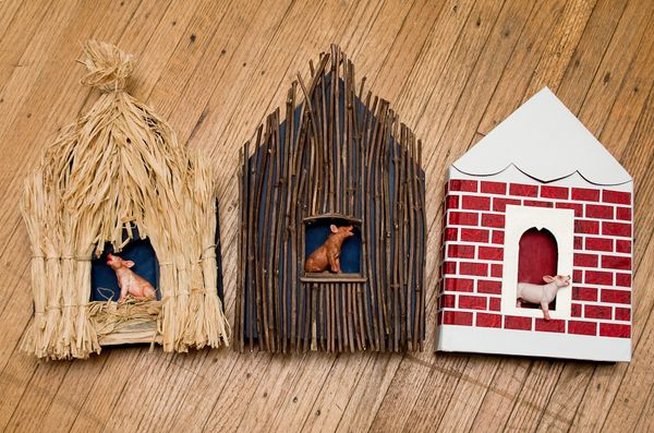 Three Little Pigs, 2011    Materials: three books, straw, sticks, paper, toy pigs, and acrylic paint.    http://www.behance.net/gallery/Altered-Books-Fairy-Tales/2834647