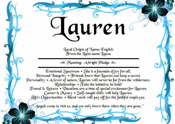 The meaning of the name 'Lauren' A bright pledge. Names