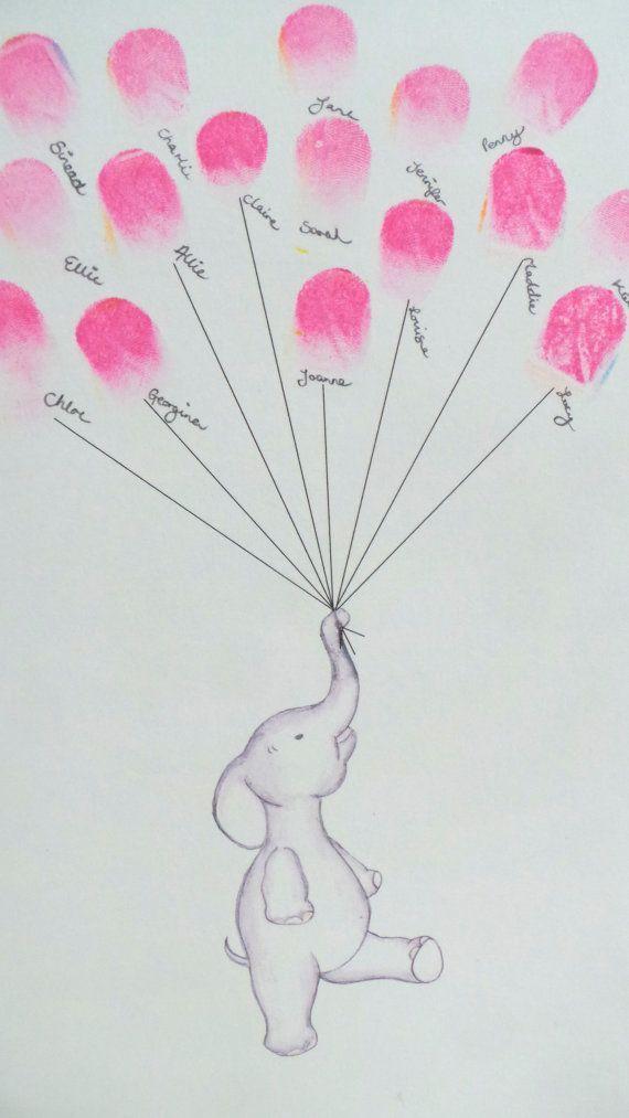 Baby Shower guest book, Keepsake art, elephant holding fingerprint balloons, nursery art, baby decor,custom art, baby shower activity, print