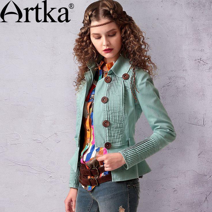 Artka ретро женская осенняя одежда отложным воротником с длинным рукавом светло зеленое высококачественное элегантное облегающее удобное хлопоковое пальто WA10049C купить в магазине ArtkaнаAliExpress