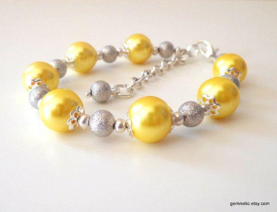 Yellow bridesmaid jewelry yellow and grey bridesmaid by Gemnotic, €11.00