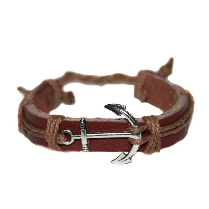 Brown Leather men bracelet with anchor  Светло-коричневый кожаный мужской браслет с якорем